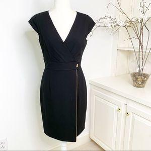 Calvin Leon Faux Wrap Dress with Zipper Detail 4